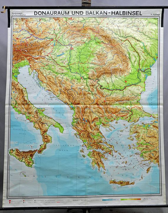 vintage geographical wall chart poster, map, Danube region, Balkan ...