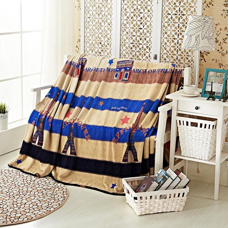 Fashionable Stripe Pattern Cartoon Tower Pattern Soft Throw Blanket Warm  Coral Plaid Blankets Travel Flannel Sofa Fleece Blanket