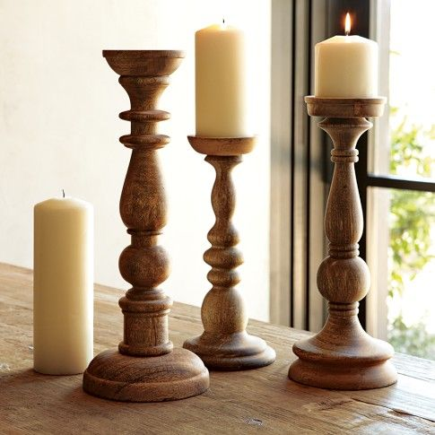 Wood candleholders williams sonoma wish list Wood candle holders