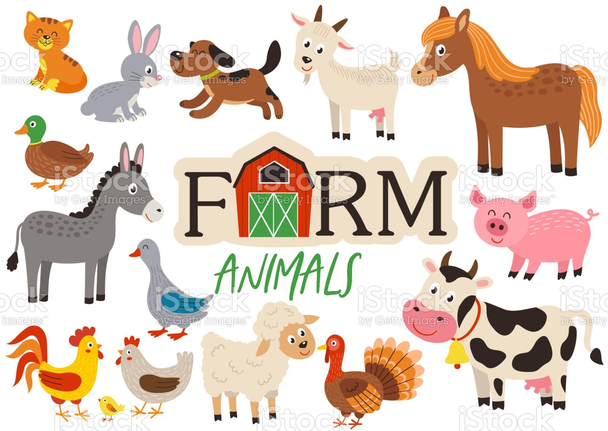 Set Of Isolated Cute Farm Animals Vector Illustration Eps Animal Illustration Kids Farm Animals Farm Vector