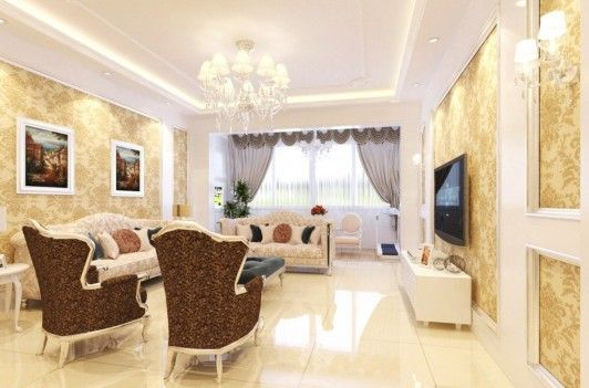 Interior Design Styles. Awesome French Style Interior Design Ideas. Classic French Luxury Living Room Design with Chocolate Wing Chair and Cream Sofa with Painting Hanged on Wallpaper Wall Design