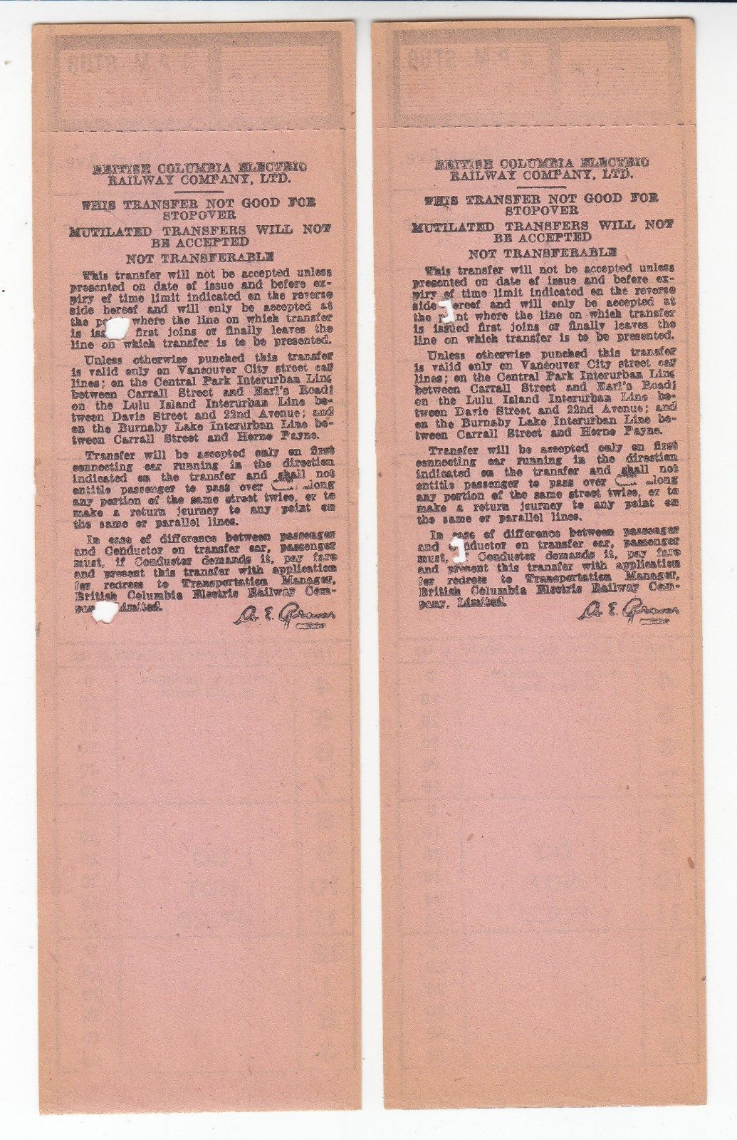 Backs of transfers from British Columbia (Canada) Electric Rwy. Ltd. (Vancouver and vicinity) (date unknown)