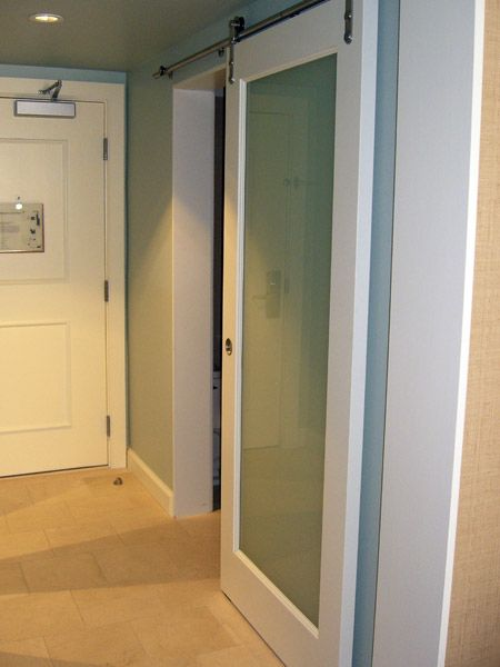 barn door frosted glass master bath - Frosted Glass Barn Door
