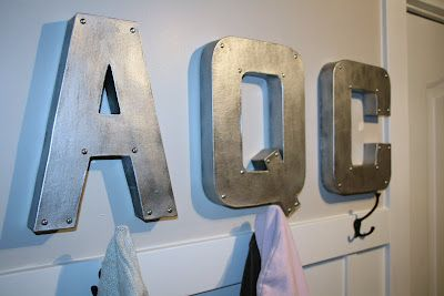 faux metal letters to hang in mudroom