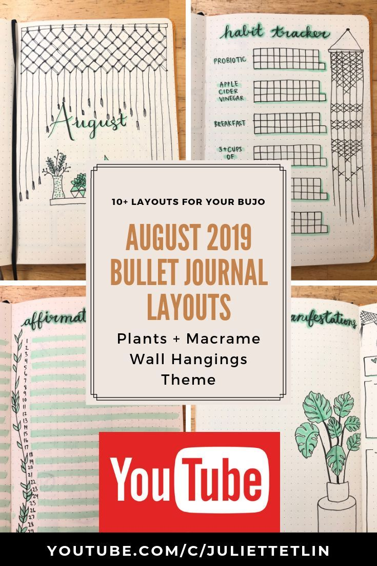 For my August Bullet Journal, I did a green plants and macrame wall hanging theme!   Check out my YouTube video to see all 10+ layouts for your August bullet journal! #augustbulletjournal