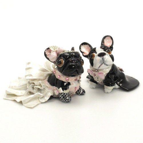 Cute French Bulldog Wedding Cake Topper Black White Wedding Colors