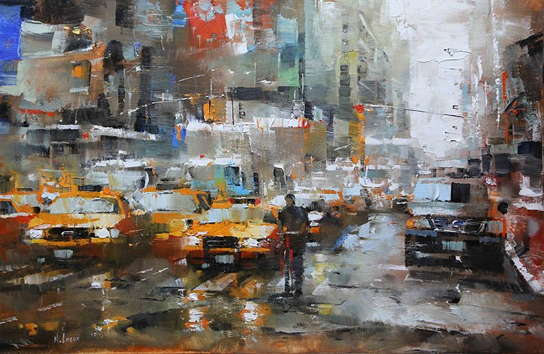 """Rain over Times Square"" Original Oil by Mark Lague"