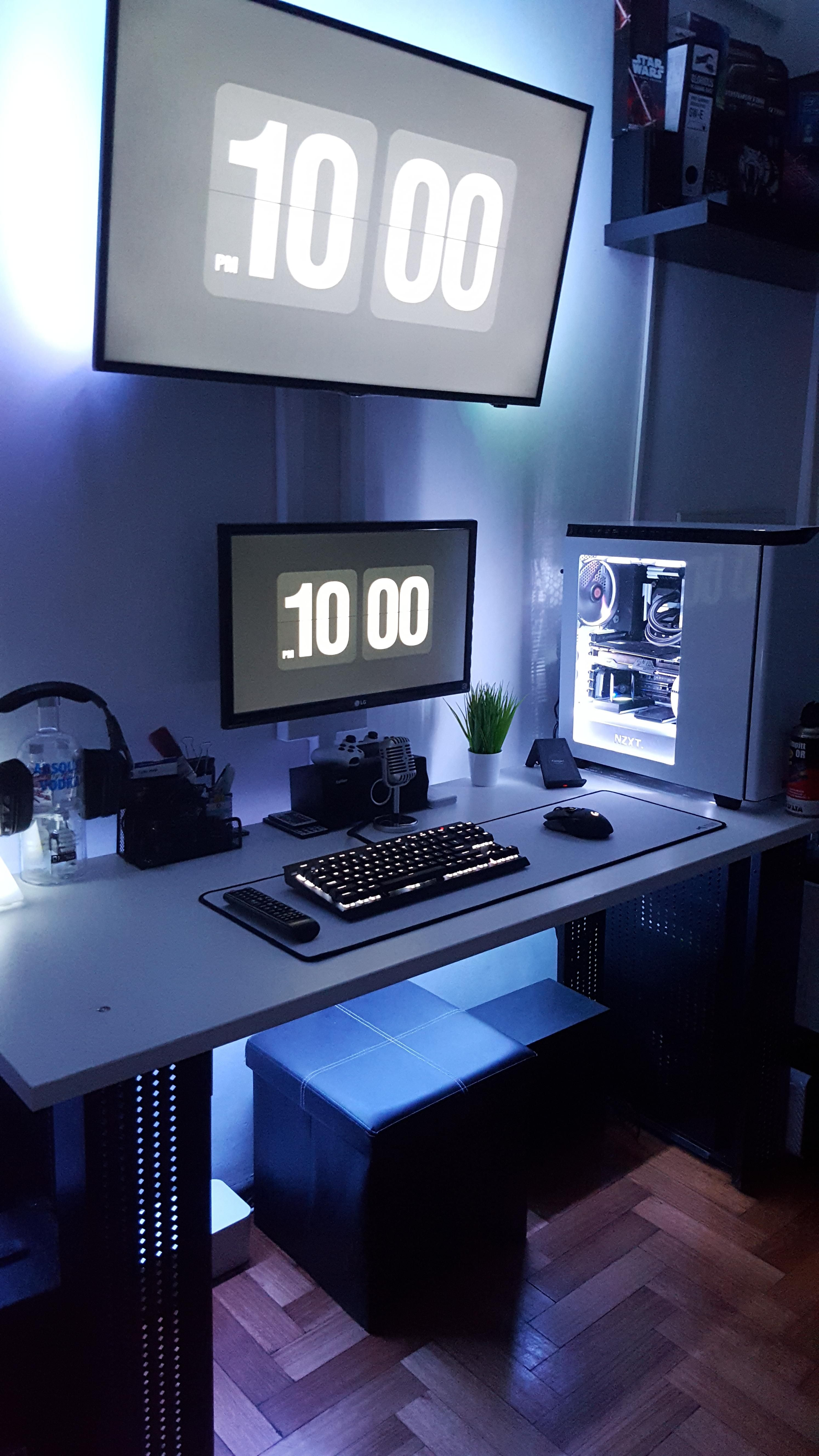 For a more creative decorating idea, create diy wall decor by hanging retro game controllers or old game boys. Added more white to my setup   Video game rooms, Room ...