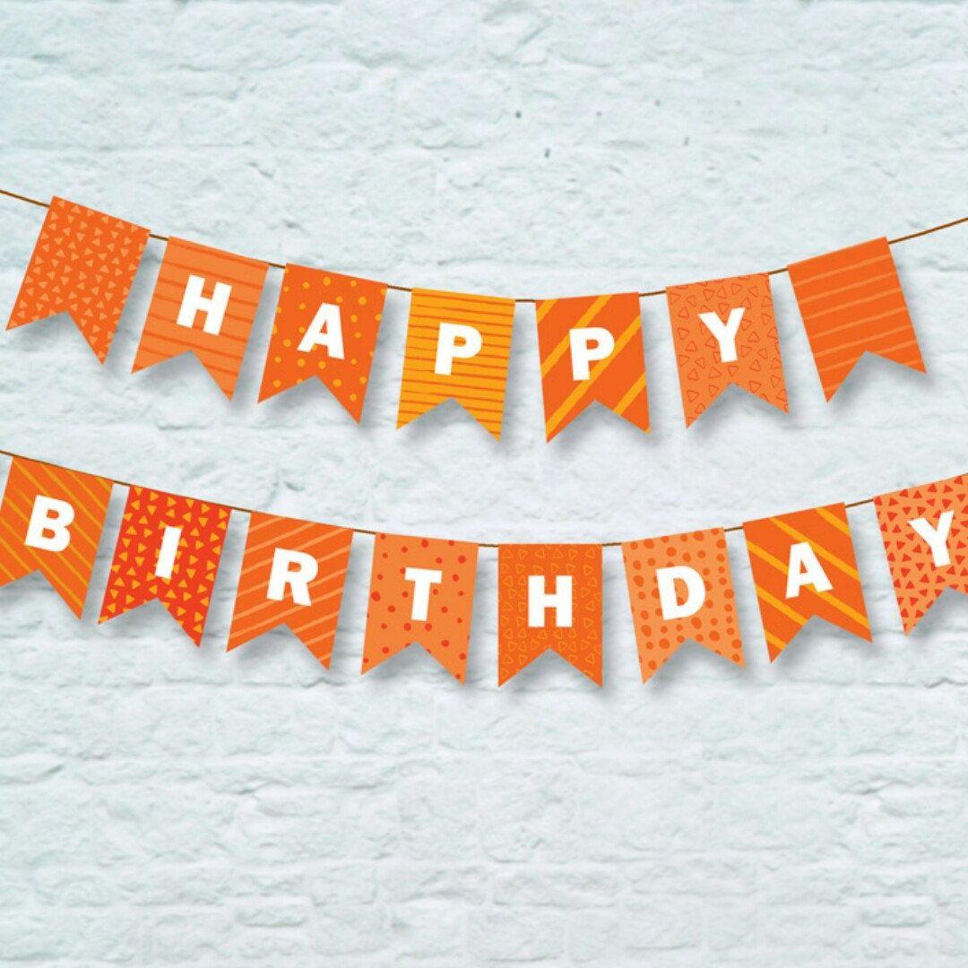 Happy Birthday Orange Banner Printable Orange Bunting Orange