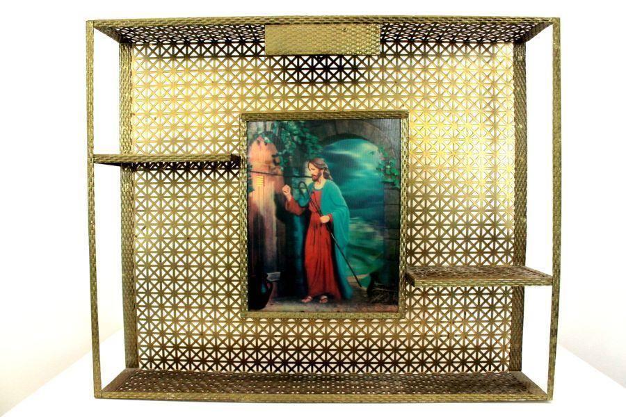 vintage metal frame HOLOGRAPHIC JESUS WALL SHELF hologram religious ...