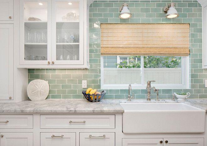 Seafoam Green Subway Tile Backsplash Kitchen With White Cabinets