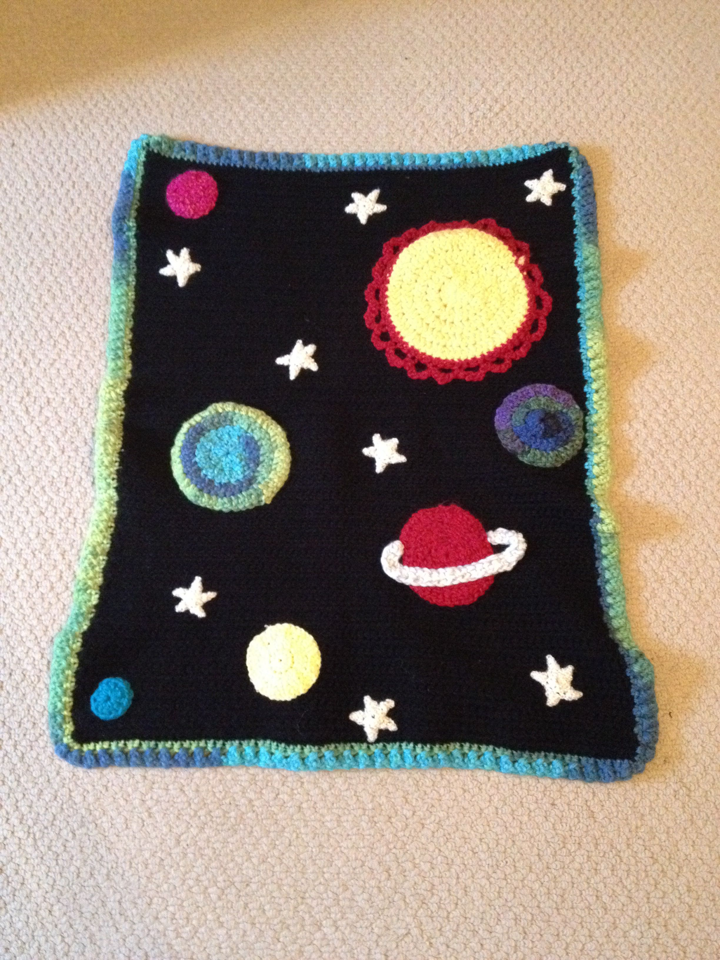 Crochet space themed baby blanket #c2cbabyblanket