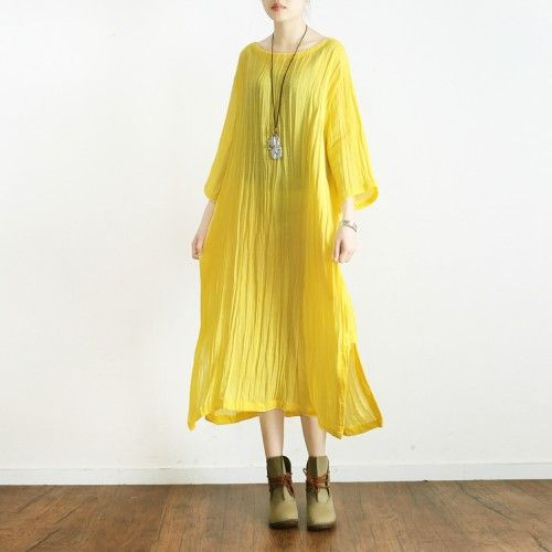 Yellow Linen Dress Casual Plus Size Ruffles Sundress Bracelet