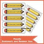 Pencil Bookmark and Number Line  2 pages - 5 pencils / page  Please don't forget to leave feedback :)  Also available: Addtion Worksheets 45 Additi...