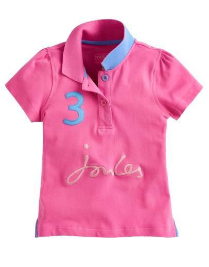 b0ed4957 The Joules Junior Pippa Girls Polo Shirt is available in Wild Pink £17.95