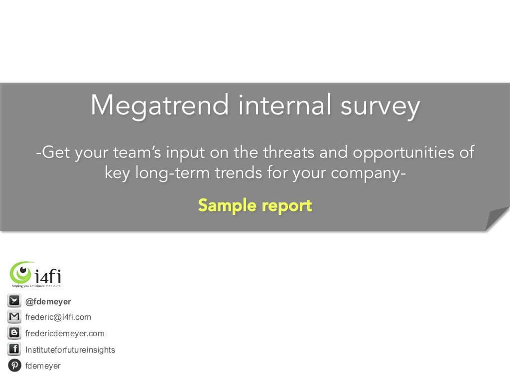 Megatrend Survey Sample Report  How To Use Megatrend Assessments