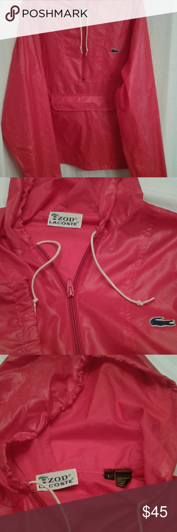 "Vintage Izod Lacoste men's windbreaker sz L. Men's  red pullover windbreaker with hood. This authentic vintage Izod Lacoste has drawstrings at the hood and hem. There is a 10"" zipper in front for easy on/off. There is a zippered front flap pocket at the waist for storage. The material is nylon and machine washable. Izod Lacoste Jackets & Coats Windbreakers"