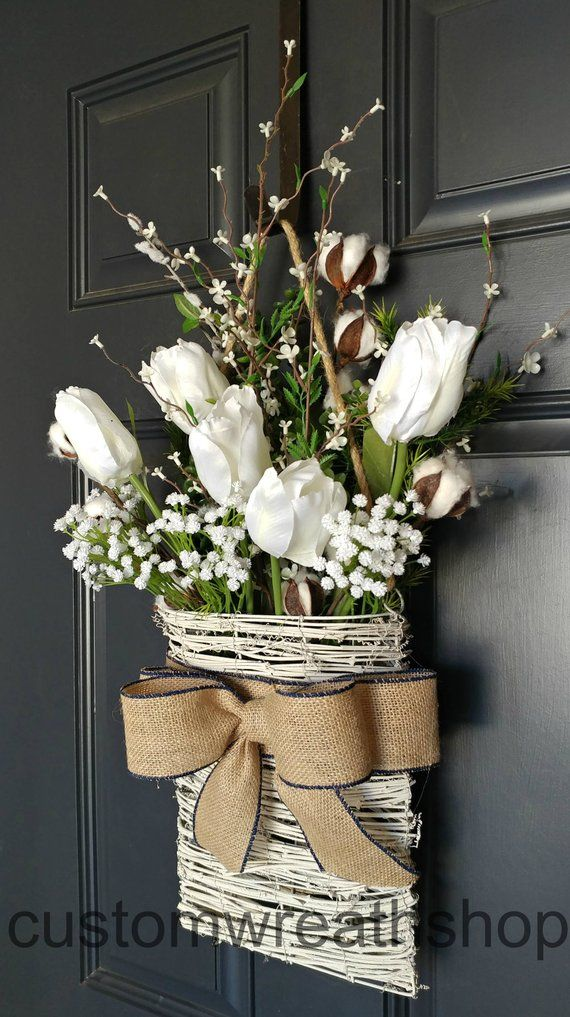 Cotton Wreath,Farmhouse Wall Decor,Tulip Wreath,Front Door Basket,Rustic Decor,Mothers Day,Wreath Alternative,Flower Basket ,Etsy Wreaths