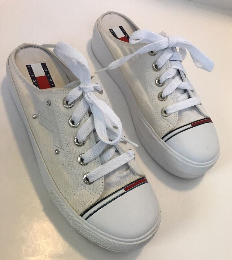 6a9ee2521a153e Womens TOMMY HILFIGER 90s White Slip On Backless Lace Up Tennis Shoes Size  10M