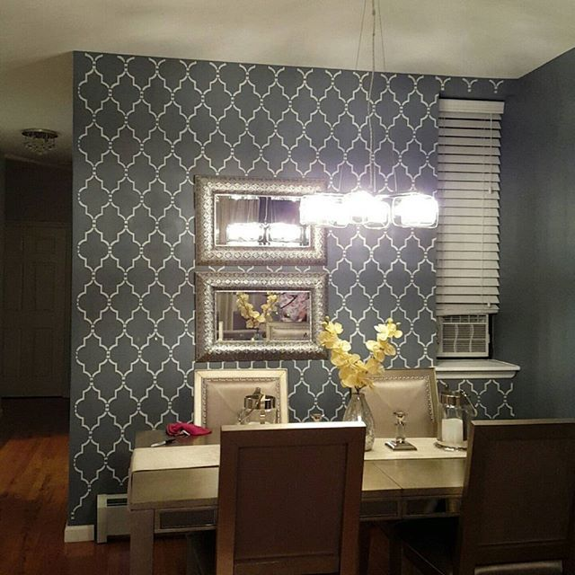 A DIY Stenciled Dining Room Accent Wall Using The Marrakech Trellis Allover Stencil Moroccan
