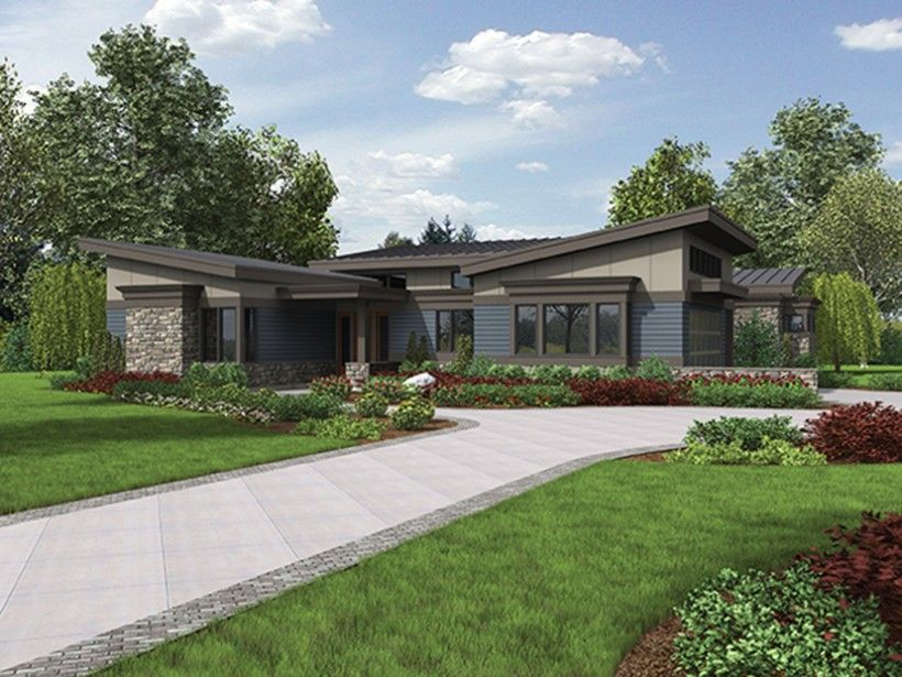 Modern Style House Plan 3 Beds 2 5 Baths 2749 Sq Ft Plan 48 497 Mid Century Modern House Plans Contemporary House Plans Ranch House Plans