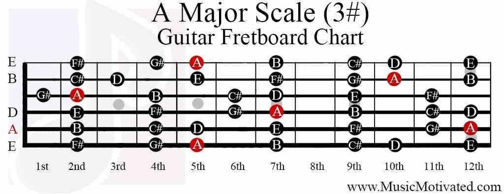 a major scale guitar fretboard notes chart guitar in 2019 pentatonic scale guitar guitar. Black Bedroom Furniture Sets. Home Design Ideas