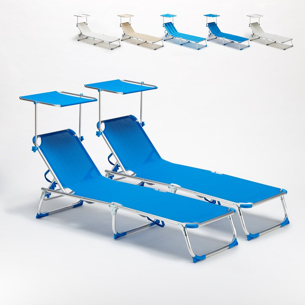 2 Foldable Sun Loungers For The Beach With Head Shade California Sun Loungers And Deck Chairs In 2019 Sun Lounger Deck Chairs Sofa Sale
