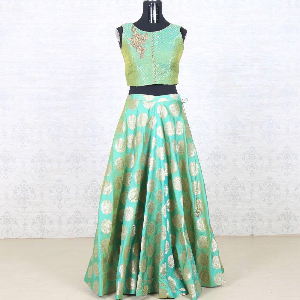 fd3a1b4e0da Pista green banaras brocade crop top skirt | Indian clothes in 2019 ...