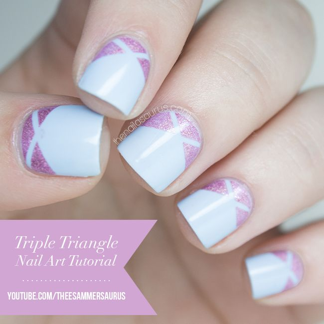 Triple Triangle Nail Art Tutorial Video Triangle Nail Art Art