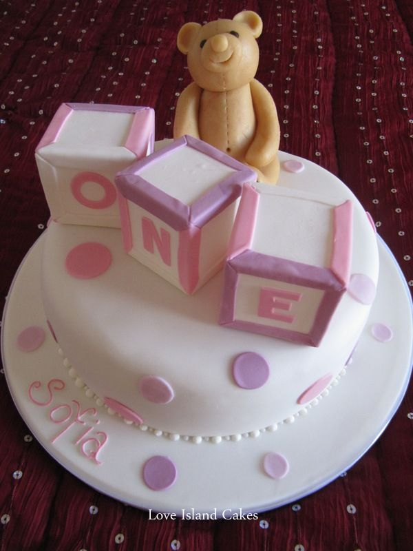 BUILDING BLOCKS BIRTHDAY CAKE One Tier Cake With Small Square Blocks And Teddy Bear Girls