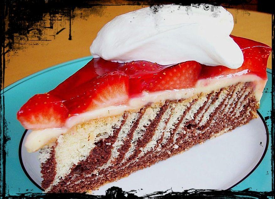 Rezept für Erdbeere - Zebra Kuchen