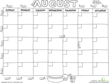 picture relating to Printable Preschool Calendar identified as Generate a Calendar: August working day treatment effort and hard work sheets