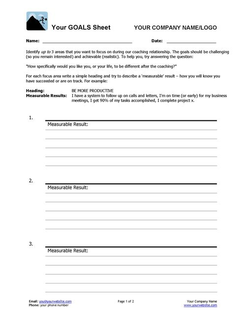Coaching Goals Worksheet Relationships, Goal and Life coaching - simple will form