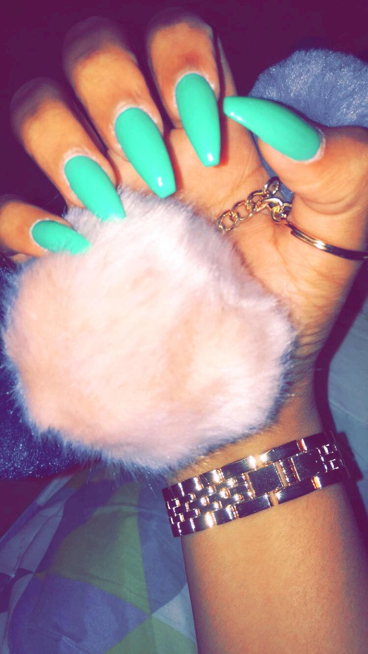 Teal Blue Long Coffin Nails Teal Acrylic Nails Teal Nails Coffin Nails Long