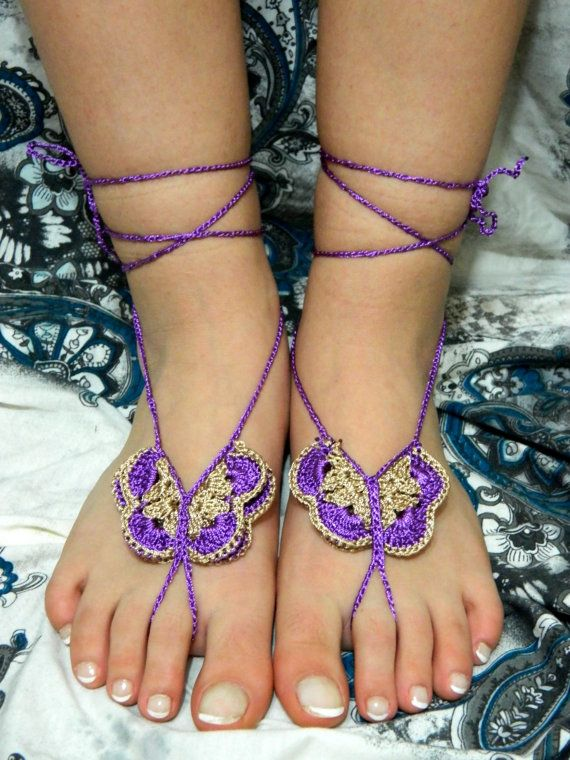 Crochet barefoot sandals purple and caramel by EmofoFashion, $16.00