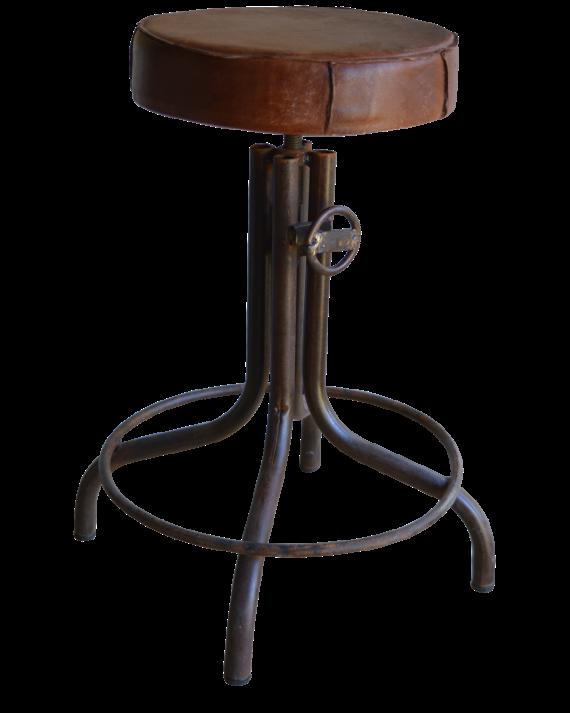 p>Vintage industriele kruk met zitting van leer. In uw woonkamer ...