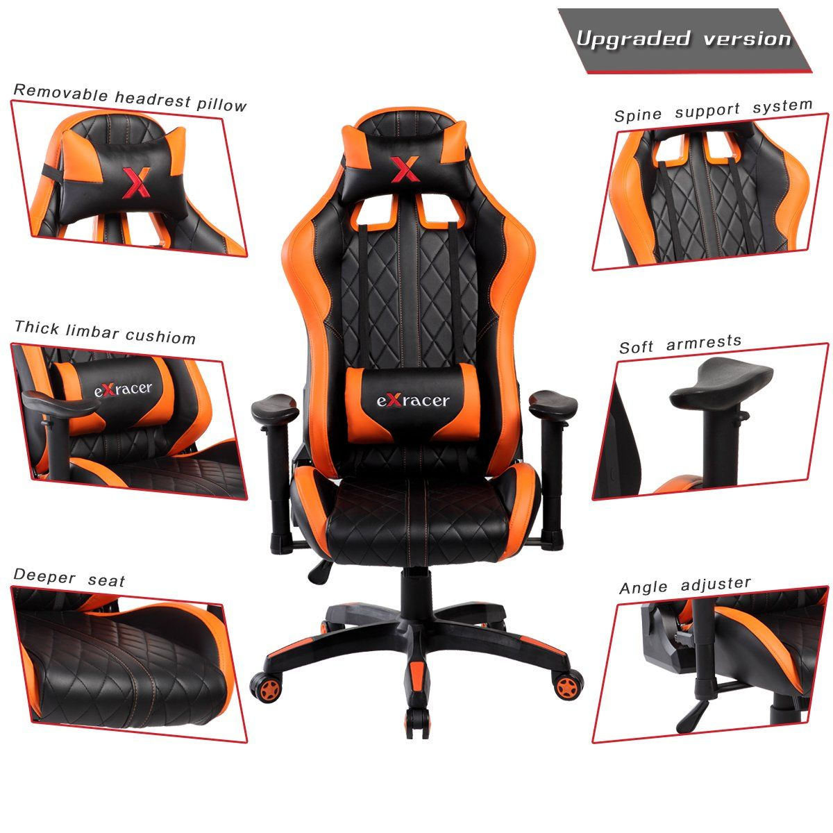 Swivel pu leather gaming chair large size racing chair racing style