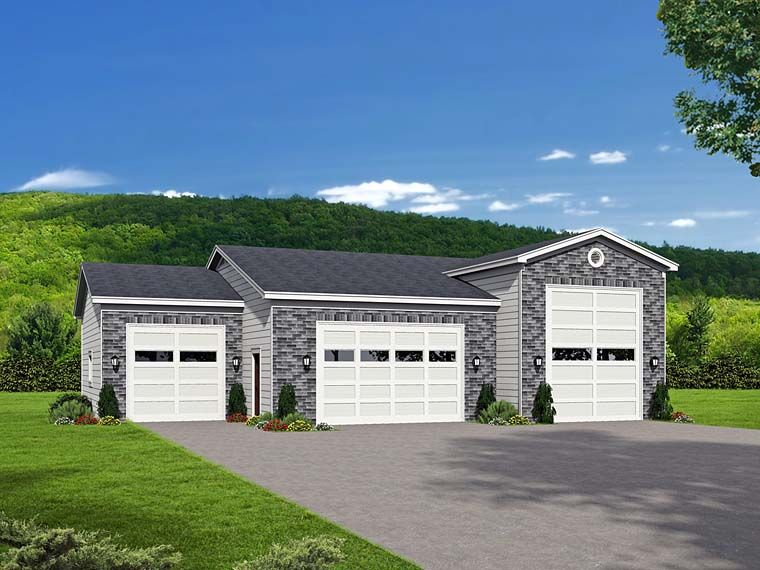 Traditional Style 4 Car Garage Plan Number 51526 , RV