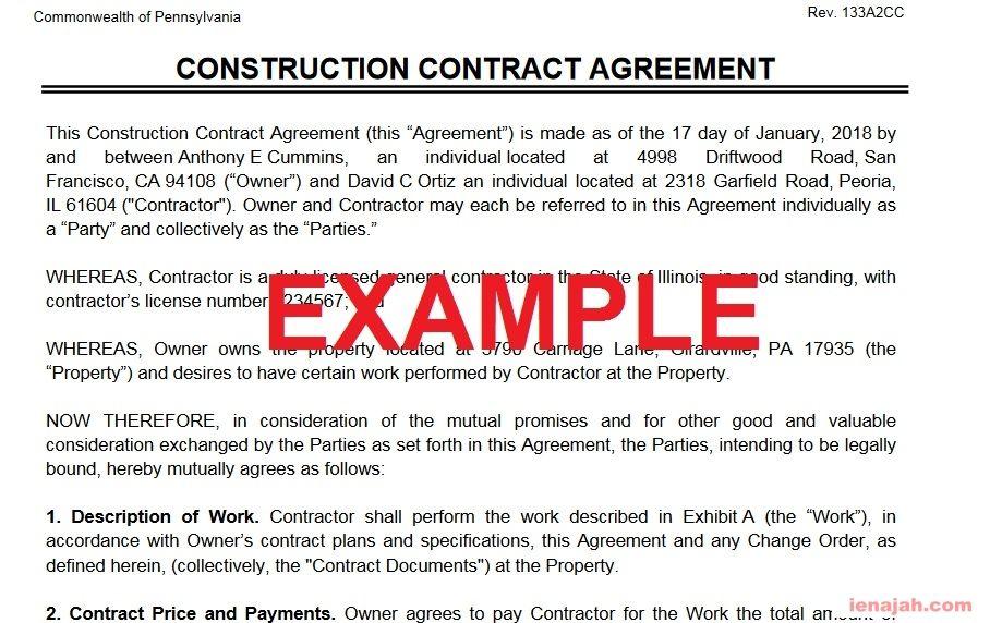 مثال لاتفاقية عقد بناء Contract Agreement Construction Contract Contract Agreement David Ortiz