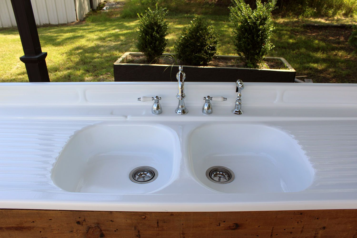 Refinished Stamped Metal Double Drainboard Farm Sink Barn