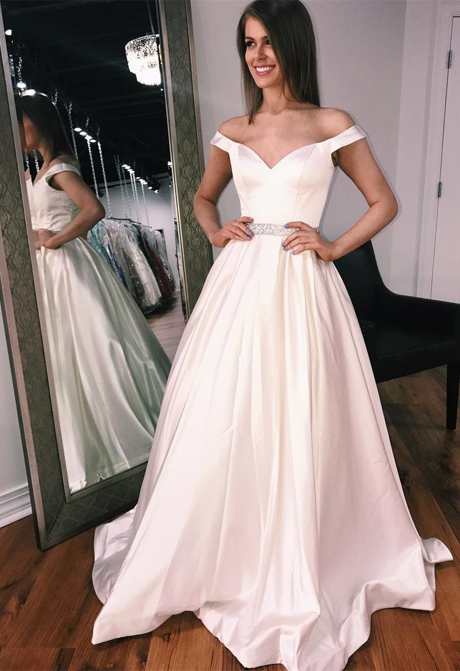 Simple aline off the shoulder champagne long prom dress with pocket