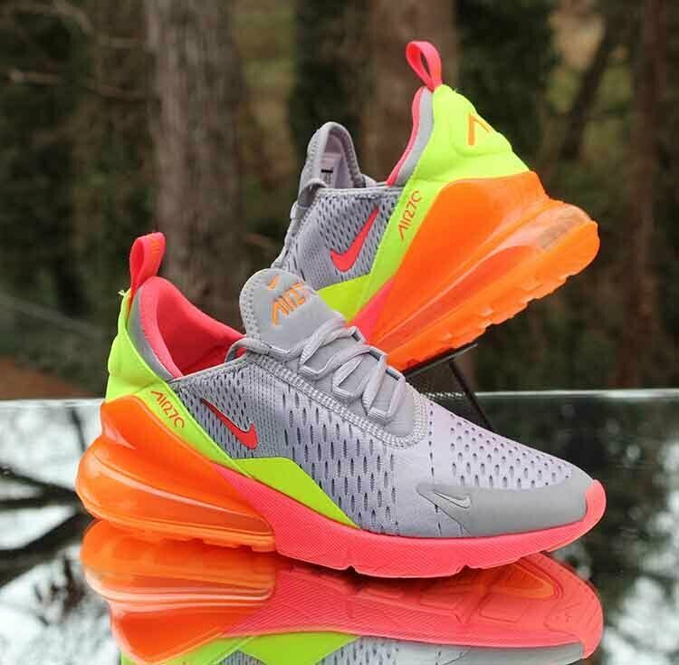Nike Air Max 270 GS Neon Running Shoes 943345 006 Size 6Y