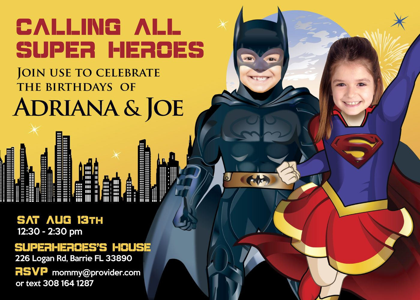 Supergirl and Batman Siblings Invitation Superheroes Brother and