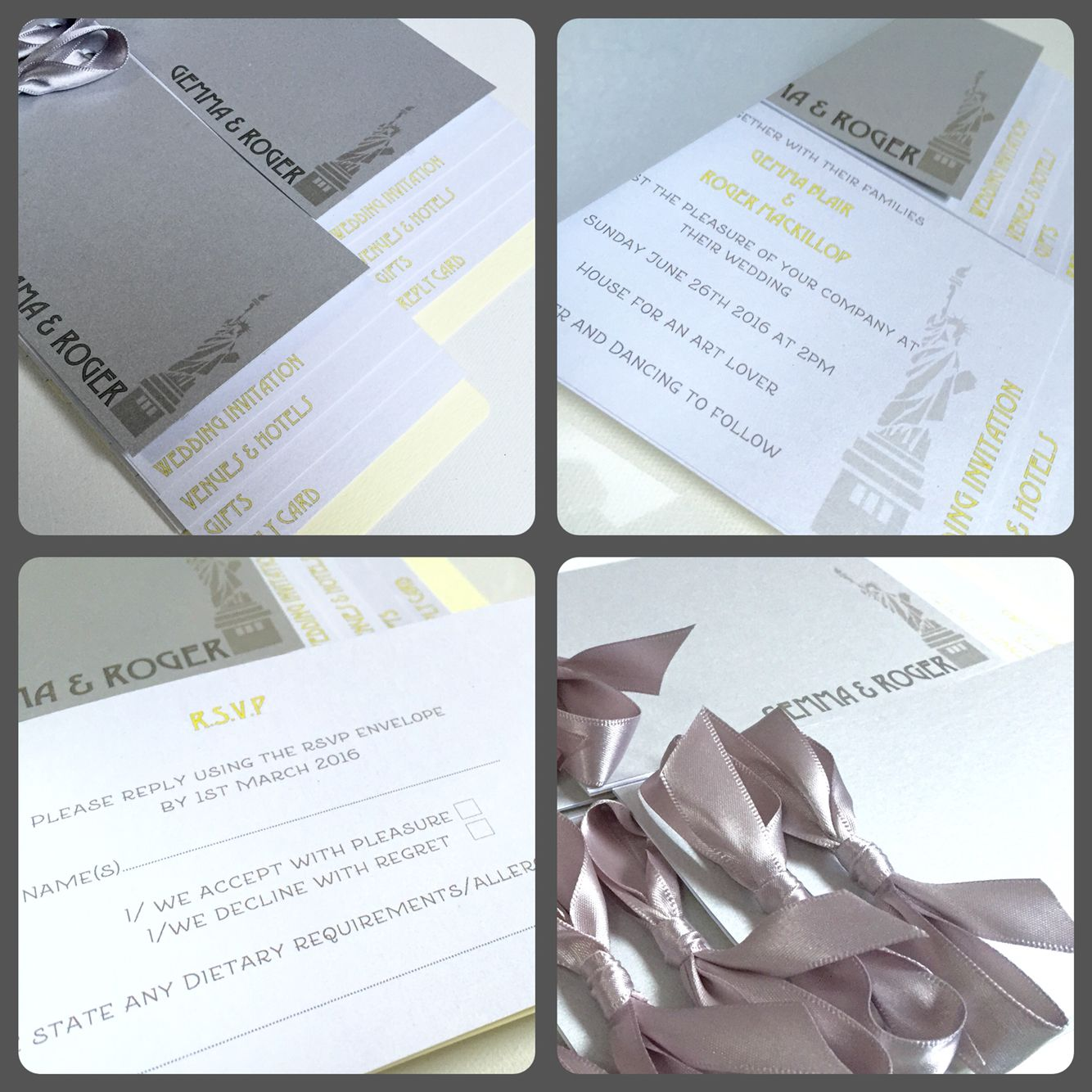 Art Deco New York themed Cheque Book style Invitations in Pale Grey ...