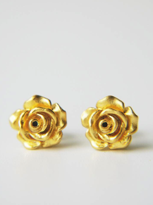 Matte Gold Rose Flower Post Earring Flower Earrings Studs Modern Stud Earrings Stud Earrings
