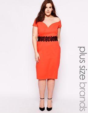 Paper Dolls Plus Bardot Pencil Dress With Lace Trim