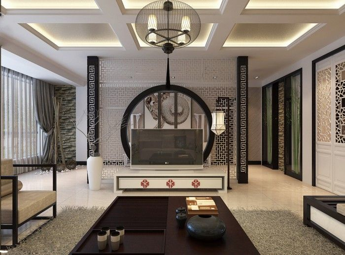 Oriental Stencil Feature Wall Monochrome Living China | Bedroom ...