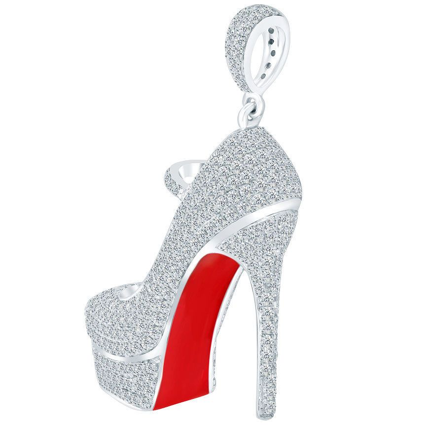 6b4bf720c989 2.20 Carat Ladies Red Bottom Shoe Charm Diamond Pendant 14k White Gold   LioriDiamonds  DiamondPendants