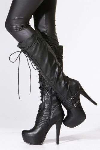 8eea7e473ad Qupid Black Lace Up Platform Stiletto Knee High Boot | Shoes in 2019 ...