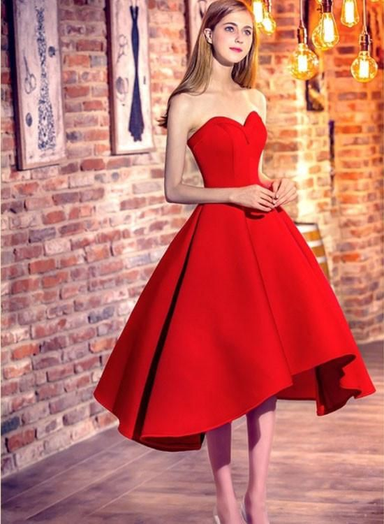 766644ba51f 2017 Homecoming Dress Red A-line Sweetheart Satin Prom Dress Elegant ...